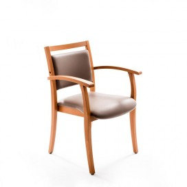 Chaise Polka simili cuir taupe avec accoudoirs