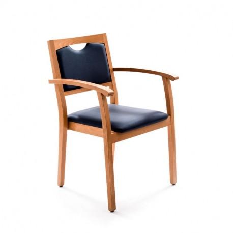 Chaise Sixty bleue avec accoudoirs
