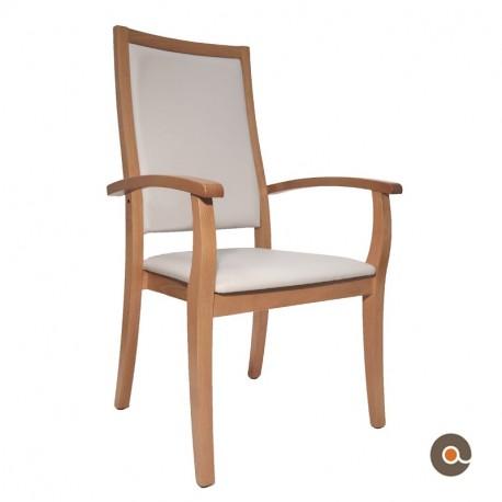 Chaise avec accoudoirs grise dossier très haut