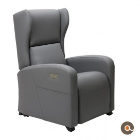 Fauteuil Gino simili cuir gris anthracite
