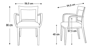 chaise-logica-avec-accoudoirs-dimensions