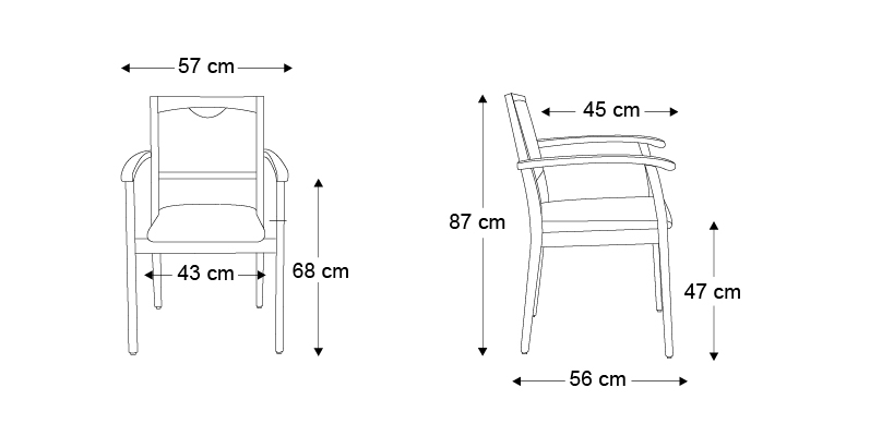 Chaise sixty avec accoudoirs for Chaise 87 cm