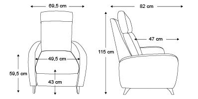 Fauteuil Alba dimensions
